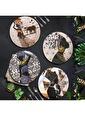 Keramika Keramika Afrikalı Kadınlar Servis Tabağı 25 Cm 4 Adet - 18106-07-11-14 Renkli
